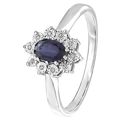 zilveren send ring met saffier en diamant - Moederdag tip: Lucardi