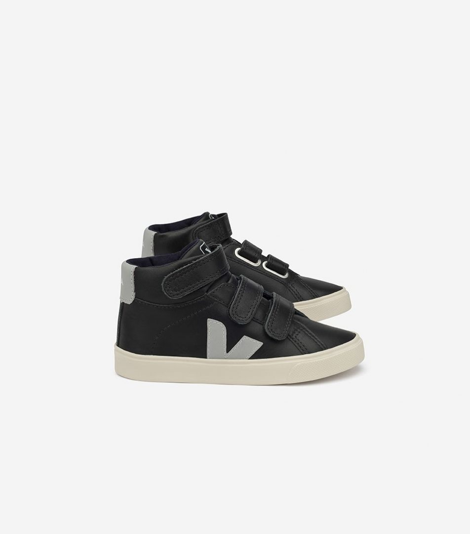 esplar mid velcro leather black oxford grey pierre - GET INSPIRED   fabulous shoes for kids