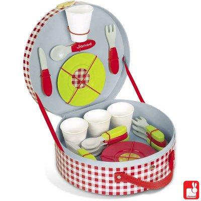 picknickkoffer incl 21 accessoires - 5x leuk buitenspeelgoed + win