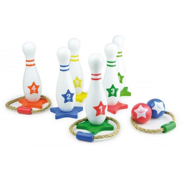 vilac houten kegel en gooispel - 5x leuk buitenspeelgoed + win