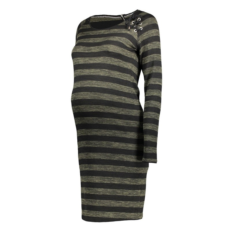s0360 stripe dress supermom positie jurk army melange - Black Friday! Ook bij Sans Online...