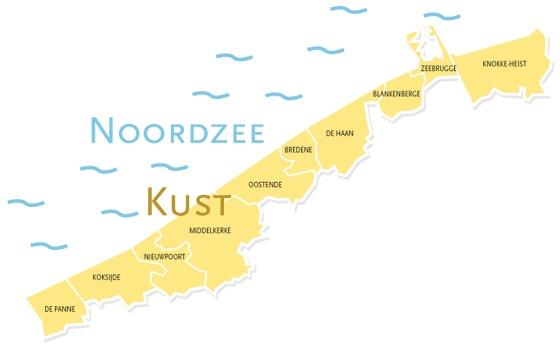 kaart kust - 30 leuke activiteiten aan de Belgische kust met kinderen tijdens de Paasvakantie