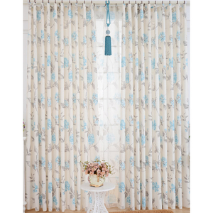 Affordable WhiteBlue PolyesterSuede Floral Curtains CMT10539 1 -