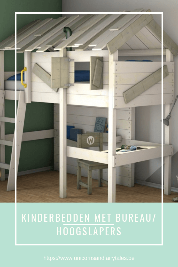 kinderbed met bureau - unicorns & fairytales