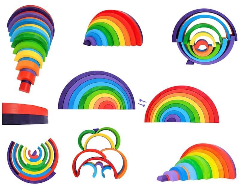 collage asym regenboog gekleurd klein MET Pijl - Leuke spelvormen met de houten regenboog van Bajo en Grimm's + WIN!