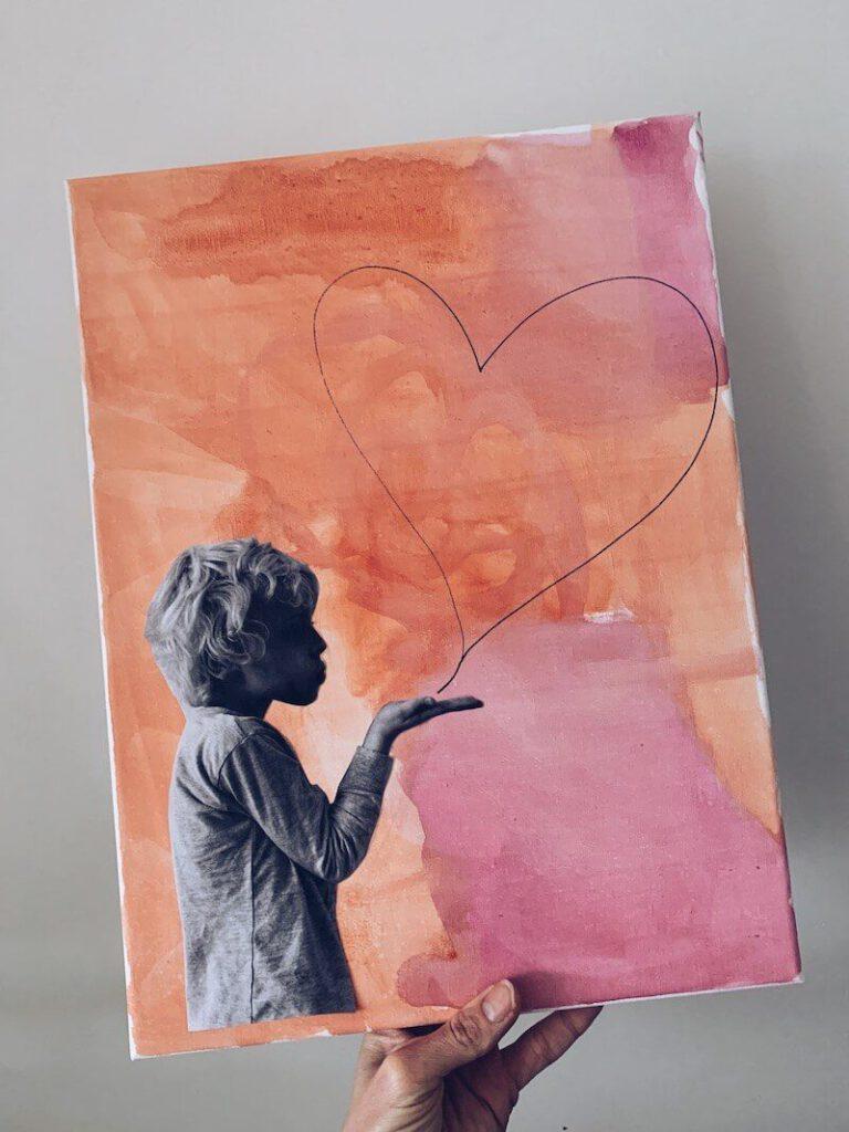 6348434E 83AE 4252 9BCE 03EB5ED8DF51 768x1024 - Een liefdevolle canvas knutselen voor Valentijn of moederdag/vaderdag