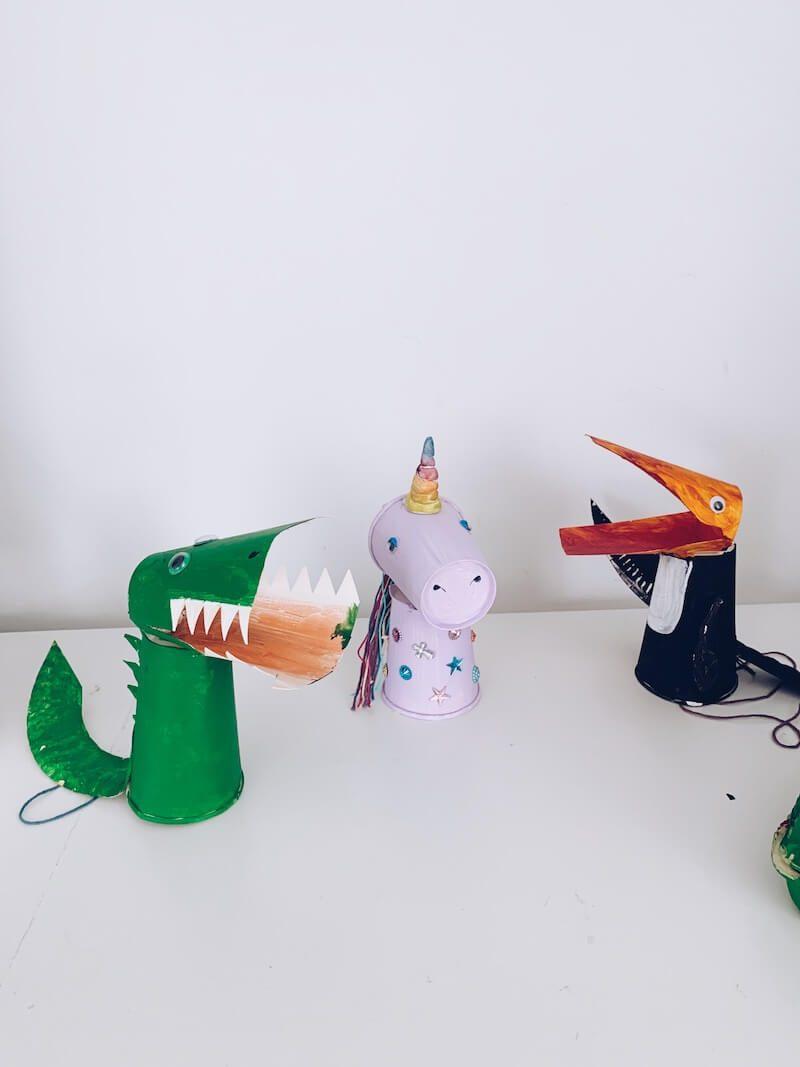 knutselen met kartonnen bekers en bordjes - unicorns & fairytales