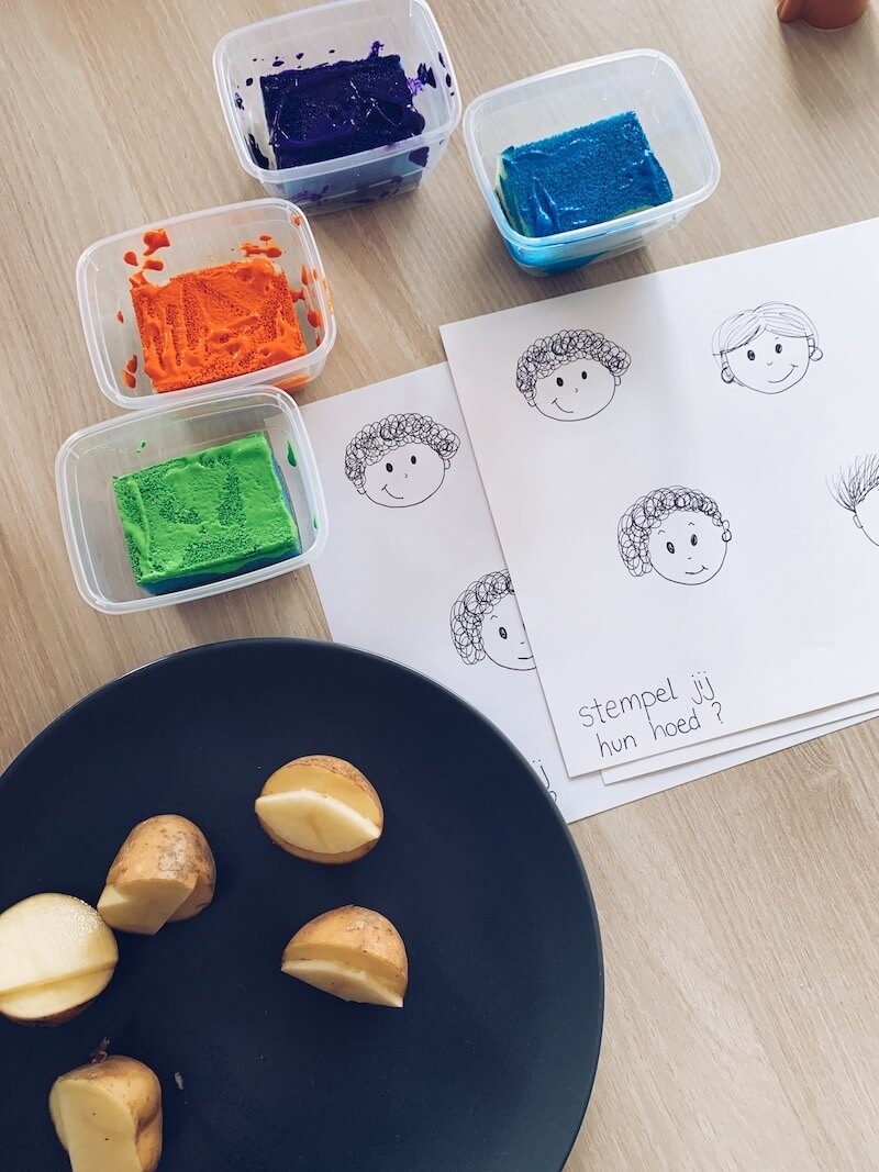 zelf stempels maken van aardappels - unicorns & fairytales