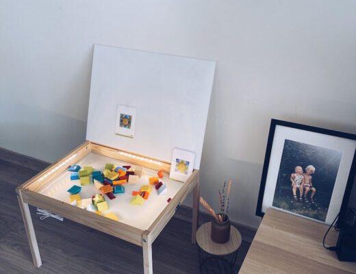 DIY lichttafel en sensory bin - unicorns & fairytales